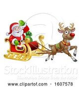 Vector Illustration of Christmas Santa Claus in a Flying Magic Sleigh with a Red Nosed Reindeer by AtStockIllustration