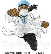 Vector Illustration of Doctor Lady Super Hero Medical Concept by AtStockIllustration