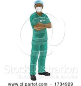Vector Illustration of Doctor or Nurse in Scrubs Uniform and Medical PPE by AtStockIllustration