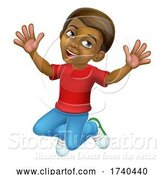 Vector Illustration of Happy Jumping Boy Kid Child Character by AtStockIllustration