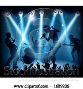 Vector Illustration of Music Concert Band Stage Silhouettes by AtStockIllustration