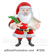Vector Illustration of Santa Claus Holding a Feather Pen and Scroll List by AtStockIllustration