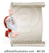 Vector Illustration of Santa Claus Pointing Around a Blank Christmas Scroll Sign by AtStockIllustration