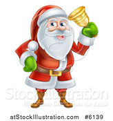 Vector Illustration of Santa Claus Ringing a Christmas Charity Bell by AtStockIllustration
