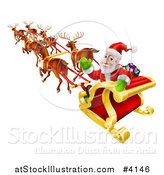 Vector Illustration of Santa Looking Back and Waving While Flying in His Magic Reindeer Sleigh by AtStockIllustration