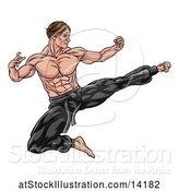 Vector Illustration of Strong Muscular Male Martial Artist Kicking by AtStockIllustration