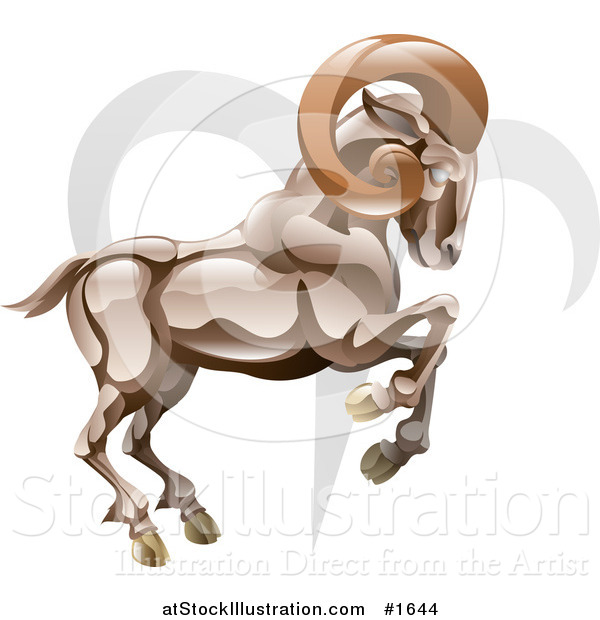 Vector Illustration Of A Aries The Ram With The Zodiac Symbol By