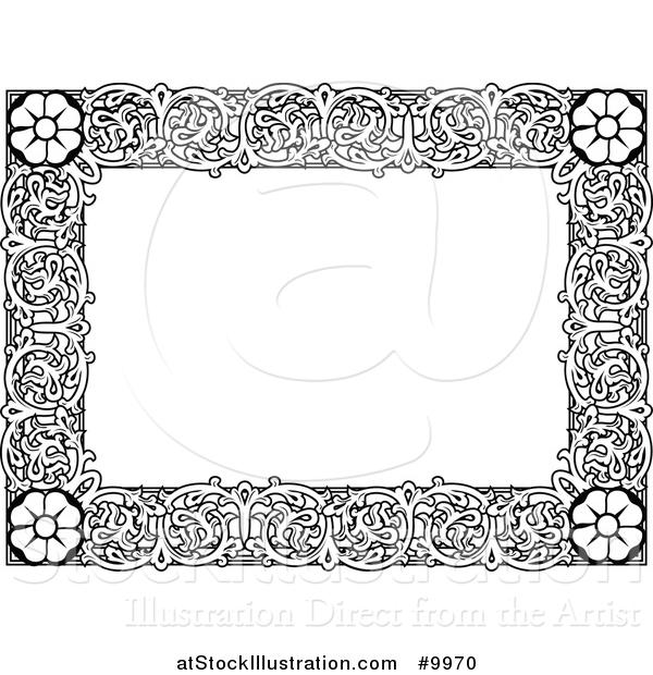 Vector Illustration of a Black and White Ornate Vintage Floral Frame ...
