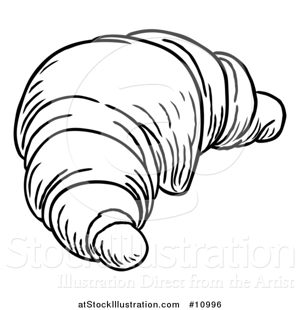 Vector Illustration of a Black and White Vintage Engraved Croissant