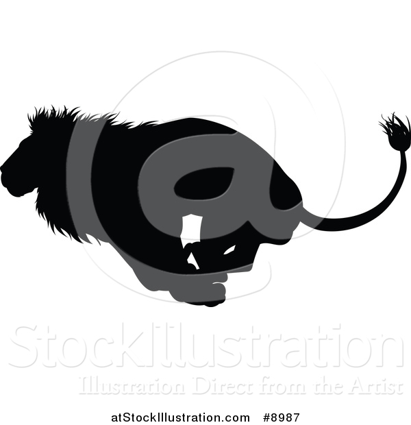 Vector Illustration of a Black Silhouetted Male Lion Running