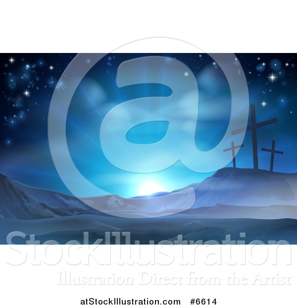Vector Illustration of a Christian Easter Background of Crosses on Calvary Hill Against Blue Sunshine