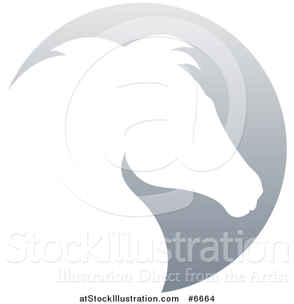 Vector Illustration of a Gradient White Horse Head Silhouetted in a Gray Circle