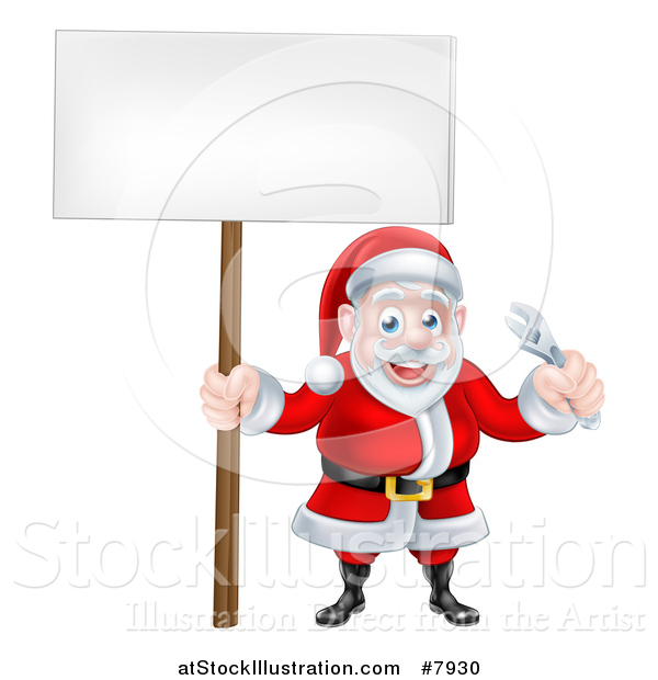 Vector Illustration of a Happy Christmas Santa Holding an Adjustable Wrench Tool and Blank Sign