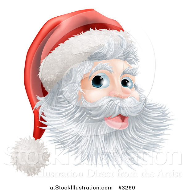 Vector Illustration of a Jolly Christmas Santa Face with a Hat
