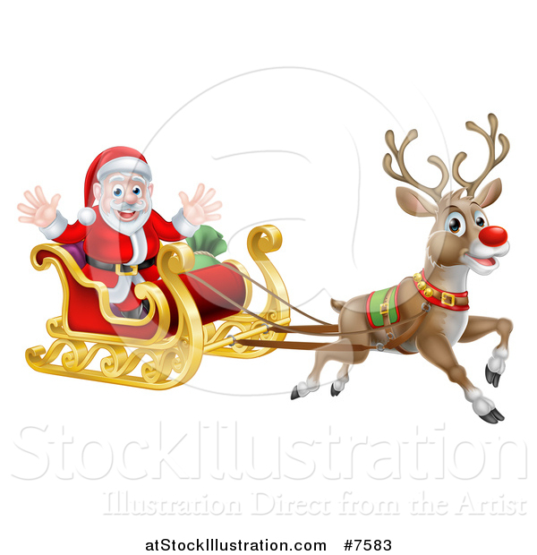 vector illustration of a red nosed reindeer rudolph flying santa in a sleigh - Rudolph And Santa