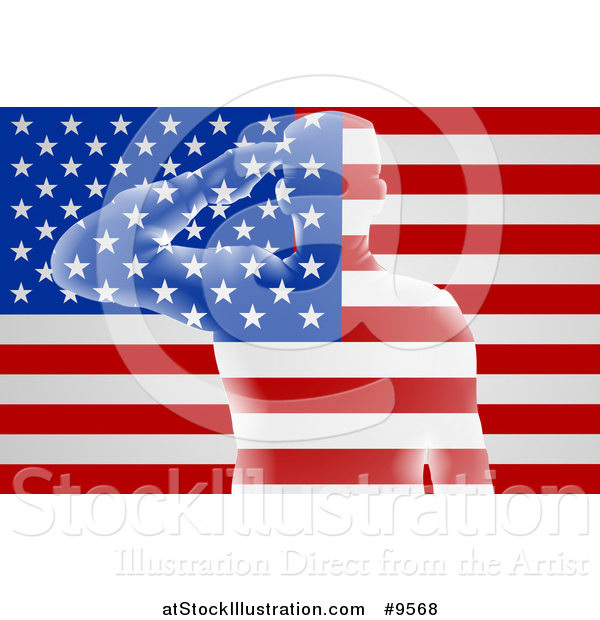 Vector Illustration of a Transparent Soldier Saluting over an American Flag