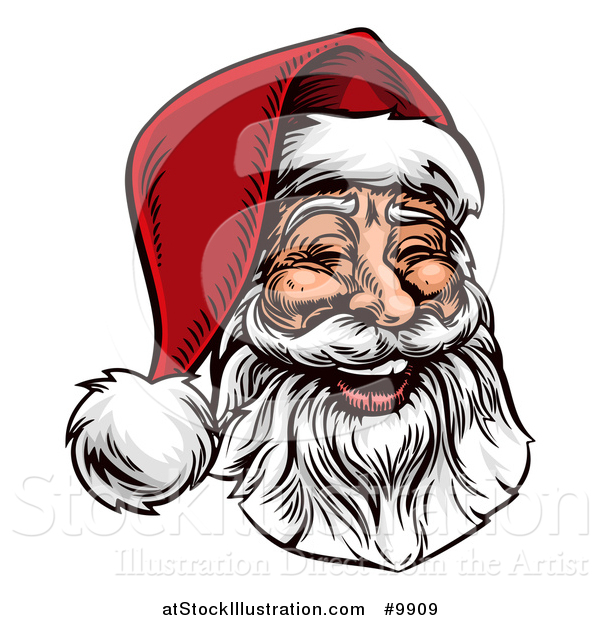 Vector Illustration of a Woodcut or Engraved Vintage Styled Jolly Laughing Christmas Santa Claus Face