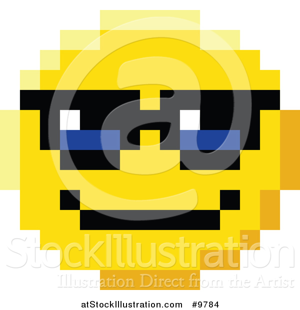 Vector Illustration Of An Cool 8 Bit Video Game Style Emoji Smiley