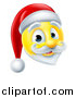 Vector Illustration of a 3d Christmas Santa Yellow Smiley Emoji Emoticon Face by AtStockIllustration