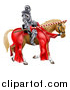 Vector Illustration of a 3d Fully Armored Jousting Knight Holding a Lance on a Brown Horse by AtStockIllustration