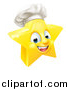 Vector Illustration of a 3d Happy Golden Chef Star Emoji Emoticon Character by AtStockIllustration