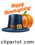 Vector Illustration of a 3d Pumpkin with a Pilgrim Hat and Happy Thanksgiving Greeting by AtStockIllustration