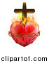 Vector Illustration of a 3d Sacred Heart with Fire Thorns and a Cross by AtStockIllustration