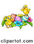 Vector Illustration of a Cartoon Cute Yellow Chicks with Easter Eggs and Flowers by AtStockIllustration