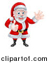 Vector Illustration of a Cartoon Happy Christmas Santa Claus Giving a Thumb up and Waving by AtStockIllustration