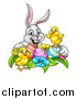 Vector Illustration of a Cartoon Happy White Bunny Rabbit with Cute Yellow Chicks with Easter Eggs and Flowers by AtStockIllustration