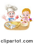 Vector Illustration of a Cartoon Happy White Girl and Boy Making Frosting and Star Cookies by AtStockIllustration