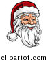 Vector Illustration of a Cartoon Jolly Santa Claus Face in a Christmas Hat by AtStockIllustration