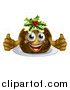 Vector Illustration of a Christmas Pudding Character Giving Two Thumbs up by AtStockIllustration