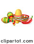 Vector Illustration of a Cinco De Mayo Design with a Chili Pepper, Maracas and Mexican Sombrero by AtStockIllustration