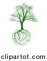 Vector Illustration of a Green Bare Tree with Brain Roots by AtStockIllustration
