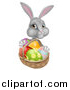 Vector Illustration of a Happy Gray Bunny with Easter Eggs and a Basket by AtStockIllustration
