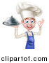 Vector Illustration of a Happy Young White Male Chef Gesturing Ok and Holding a Cloche Platter by AtStockIllustration