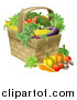 Vector Illustration of a Produce Basket Full of Fresh Vegetables by AtStockIllustration
