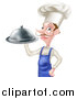 Vector Illustration of a Snooty White Male Chef with a Curling Mustache Holding a Cloche Platter, Facing Left by AtStockIllustration